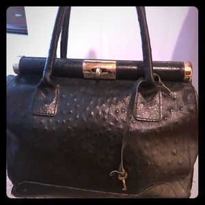 Black Italian Leather Handbag
